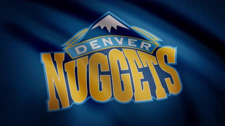 denver : Animation waving in wind flag of basketball club Denver Nuggets. Editorial use only