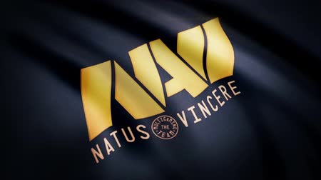 intel : Animation waving flag symbol of professional eSports team Navi Natus Vincere. A world-class cyber sports team. Editorial use only Stock Footage