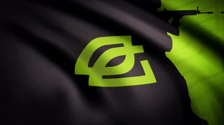 intel : Animation waving flag symbol of professional eSports team OpTic Gaming. A world-class cyber sports team. Editorial use only