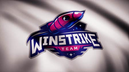 intel : Animation waving flag symbol of professional eSports team Winstrike. A world-class cyber sports team. Editorial use only Stock Footage