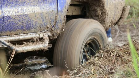 playfield : 4WD Pickup truck in the mud. This video is about footage of Four-wheel drive pickup truck stuck in the mud and trying to get out of the quagmire. Stock Footage