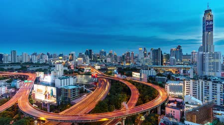 отель : Timelapse of City Skyline, Bangkok, Thailand Bangkok is the capital city of Thailand and the most populous city in the country. Aerial view interchange of a city at sunset to twilight & night