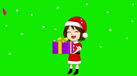abençoar : Animation of a girl wearing a Santa Claus costume with a gift Snowing and green screen. A message appeared at the top that Happy New Year. Vídeos
