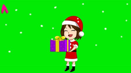 auguri : Animation of a girl wearing a Santa Claus costume with a gift Snowing and green screen. A message appeared at the top that Merry Christmas. Filmati Stock