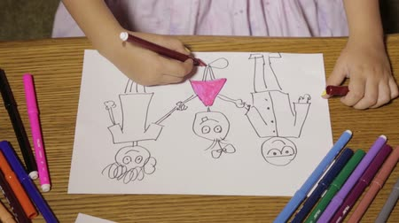 dab : Childrens hand painted on paper Stock Footage