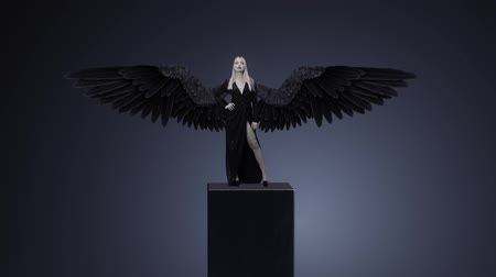 Blonde girl in a black dress and with wings Vídeos
