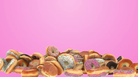 engorda : Falling Different donuts on a pink background