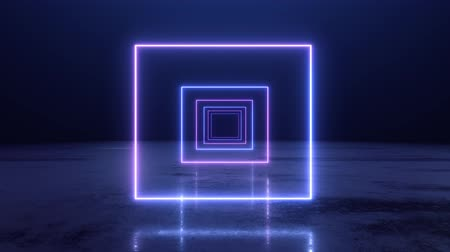 rectangular : VJ abstract Neon square tunnel