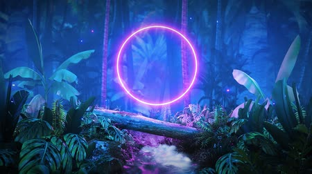 гавайский : night jungle with glowing neon