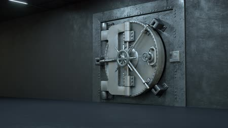 değerli : Opening Of The Vault Door In Bank with a lot of money on a white background