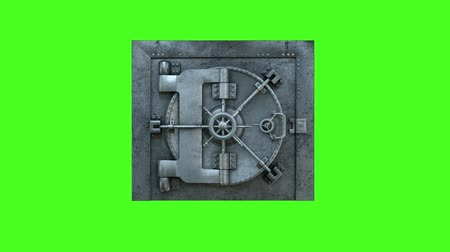 дверь : Opening Of The Vault Door In Bank on a green background
