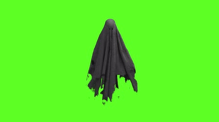 ijesztő : Flying black Ghost on an green screen Stock mozgókép