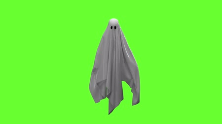 празднование : Flying white Ghost on an green screen