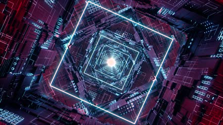 techno : Loop Rhombus Futuristic Neon Tunnel in 4k