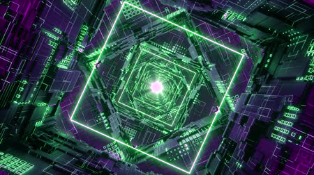 tünel : Loop Rhombus Futuristic Neon Tunnel in 4k