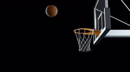 Basketball hit the basket in slow motion on a alpha channel Vídeos
