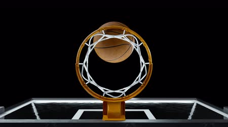 basketball : Basketball hit the basket in slow motion on a alpha channel Stock Footage