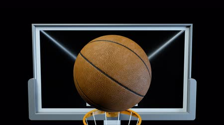 stowarzyszenie : Basketball hit the basket in slow motion on a alpha channel Wideo