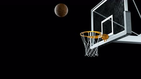 free throw : Basketball hit the basket in slow motion on a alpha channel Stock Footage
