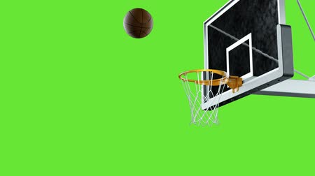 ассоциация : Basketball hit the basket in slow motion on a green background
