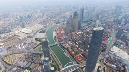 built up : AERIAL shot of Modern buildings and urban cityscape,Tianjin,China Stock Footage