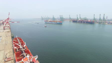 ithalat : Aerial view of Large container ship at sea