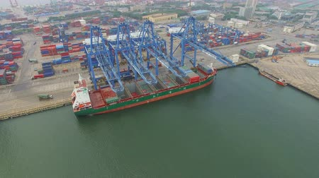 unload : Tianjin, China - July 4, 2017: Aerial View of Harbor with cargo containers,Tianjin,China. Stock Footage