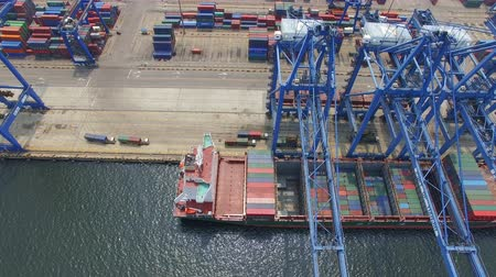 rakomány : Tianjin, China - July 4, 2017: Aerial View of Harbor with cargo containers,Tianjin,China. Stock mozgókép