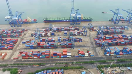 estaleiro : Tianjin, China - July 4, 2017: Aerial View of Harbor with cargo containers,Tianjin,China. Vídeos