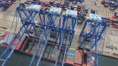 tersane : Tianjin, China - July 4, 2017: Aerial View of Harbor with cargo containers,Tianjin,China. Stok Video