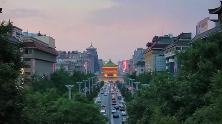 xian : Traffic in downtown area near bell tower,xian,shaanxi,china Stock Footage