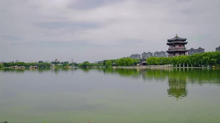shaanxi : Lake in chinese park, xian, shaanxi, China Stock Footage