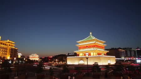 xian : Timelapse of Night view of the Bell Tower in Xian, China