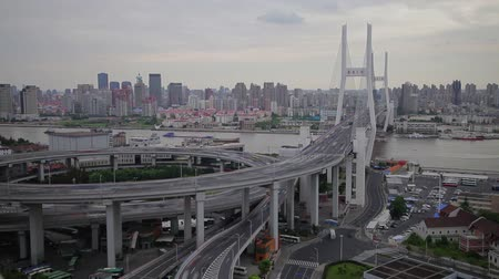 nanpu : Timelapse of traffic on Nanpu Spiral , Shanghai, China Stock Footage