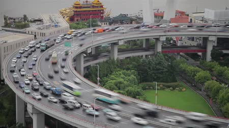 複雑 : Timelapse of traffic on Nanpu Spiral , Shanghai, China 動画素材