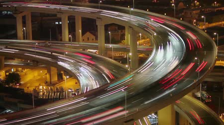nanpu : Timelapse of traffic on Nanpu Spiral at night , Shanghai, China Stock Footage