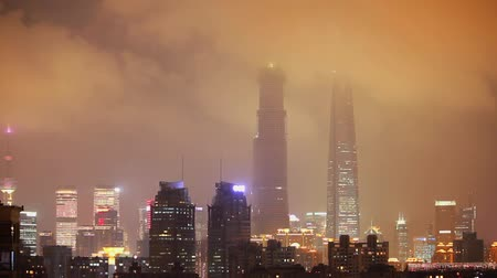 pudong : Timelapse shot of The pudong district of Shanghai city at night