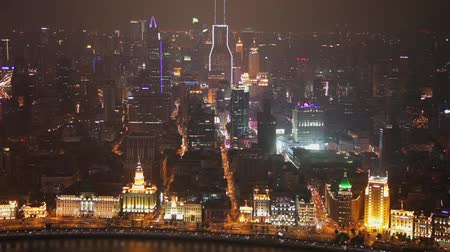 huangpu river : Timelapse of Traffic and cityscape of Shanghai at night , Shanghai, China