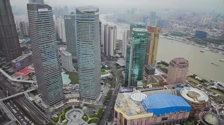 east pearl : Timelapse of Shanghai Lujiazui financial district and Huangpu river , Shanghai, China
