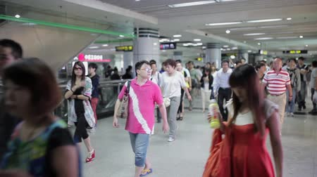 train workers : SHANGHAI, CHINA - Sep 06 2013: Commuters are on their way to work