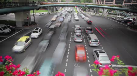crossway : Timelapse of rush hour traffic in Crossroad , Shanghai, China