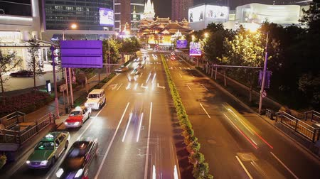 congestionamento : Timelapse of rush hour traffic in Jingan District , Shanghai, China Stock Footage