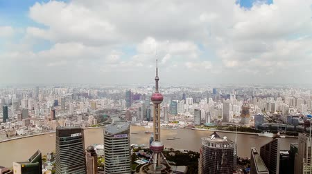 pudong : Timelapse of Shanghai Lujiazui financial district and Huangpu river , Shanghai, China