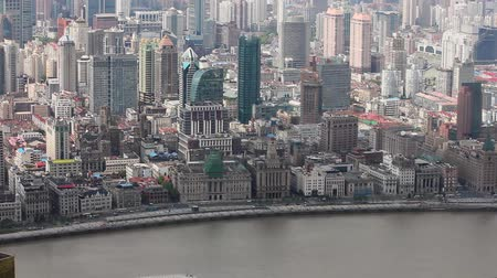 cbd : View of historic architecture of the Bund , facing the Huangpu river , Shanghai, China Stock Footage