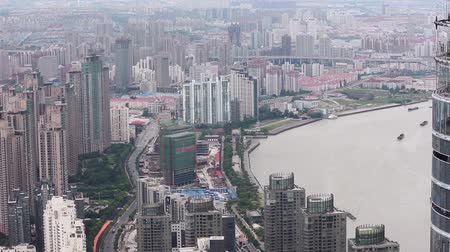 pudong : View of Urban scene in Shanghai , Shanghai, China Stock Footage