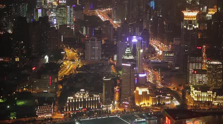 huangpu river : timelapse video of Shanghai CBD at night Stock Footage