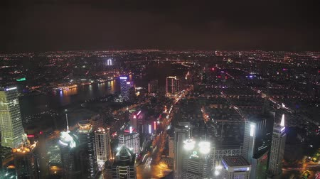 cbd : timelapse video of Shanghai CBD at night Stock Footage