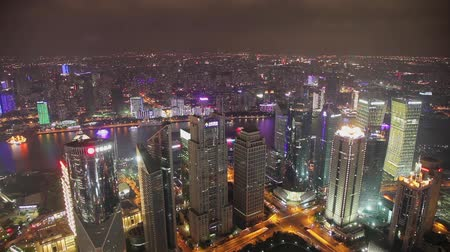 pearl : timelapse video of Shanghai CBD at night Stock Footage