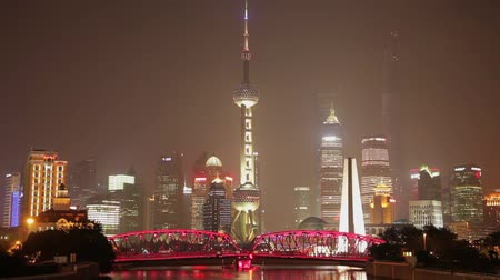 akşam : Timelapse of traffic at Waibaidu Bridge ,  Shanghai city, china.