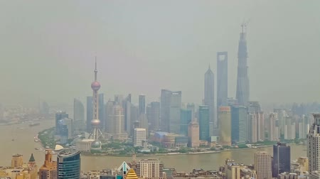 east pearl : SHANGHAI - SEP 06, 2013:Timelapse of Shanghai Lujiazui financial district and Huangpu river , Shanghai, China